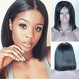 leomi Hair Bob Gerade Brazilian Virgin Echthaar Full Lace Wig Hochwertige Echthaar Lace Front Perücken Natural Haaransatz Baby Hair frei Teil Lace Perücken für Damen schwarz
