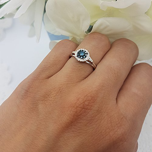 Dazzlingrock Collection 0.30 Carat (ctw) Sterling Silver Round White & Blue Diamond Engagement Ring 1/3 CT, Size 4