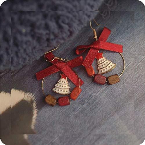Originales pendientes navideños hechos a mano, regalos para novias y amigas con lazos de madera, estrellas, arbolitos y pendientes