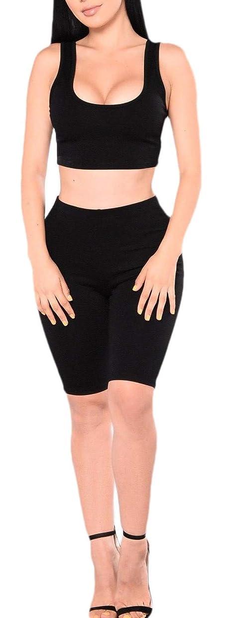 ポテトモネドールWomen Comfy Two Piece Outfits Tank Crop Top Bodycon Skinny Pants Sets