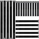 Gancho y bucle correas, ZoneYan 20 piezas ajustable cierre de cable ties organizador negro...