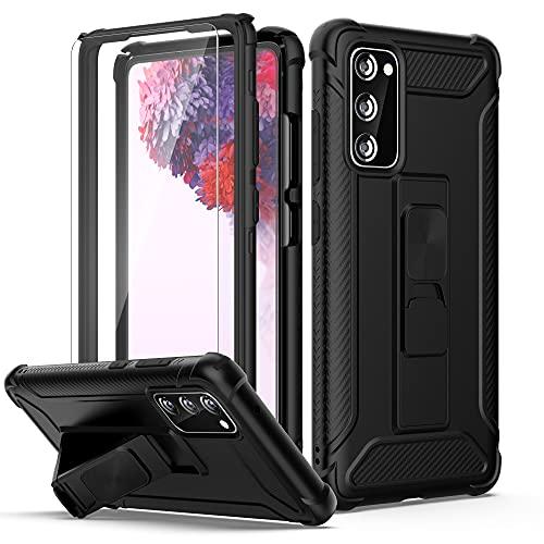 ORETECH für Samsung Galaxy S20 FE Hülle, mit [2X Panzerglas Schutzfolie] [Ständer Halter]360 Grad Militärischer Schutz Handyhülle Hülle TPU Silikon Bumper Hard PC Schutzhülle für Samsung S20 FE-Schwarz