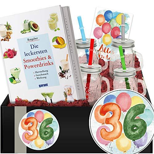 Geschenkidee 36. Jubiläum - Geschenkbox Smoothie + Gläser - 36 Geburtstag