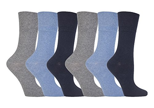 Gentle Grip - 6 Pack of Ladies Diabetic Socks -5-9 us (Light Blue)