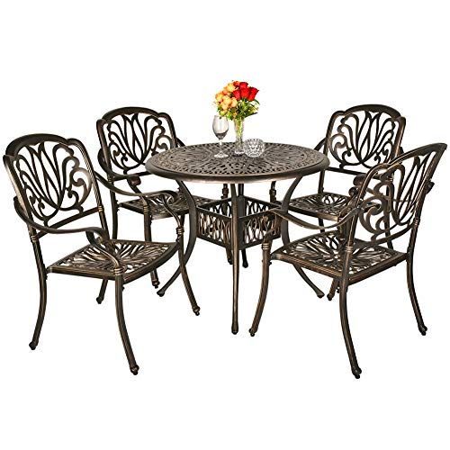 TITIMO 5 Piece All-Weather Cast Aluminum Outdoor Patio Deck Dining Set w/Round Table and 4 Chairs, Umbrella Hole - Deep Bronze