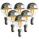 G45 / G14 Edison Light Bulbs, 4W Silver Crown Globe Light Bulbs Half Chrome Light, 40 Watt Equivalent, E12 Candelabra Base, Warm White 2700K,Non Dimmable -6Pack