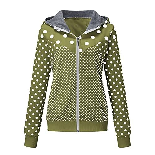 KOKOW High Neck Hooded Jacket Zip Up Splicing Polka Dot Print Outwear Fashion Casual Loose Long Sleeve Pocket Jacket