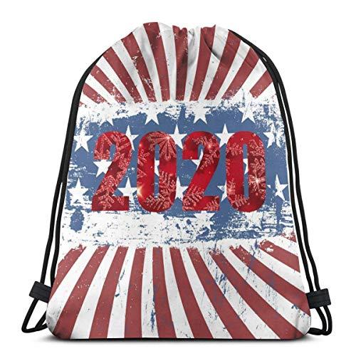 LREFON Mochila con cordón para gimnasio, mochila con bandera de EE. UU. 2020, mochila para almacenamiento de viaje, organizador de zapatos, hombro escolar, compras para niños