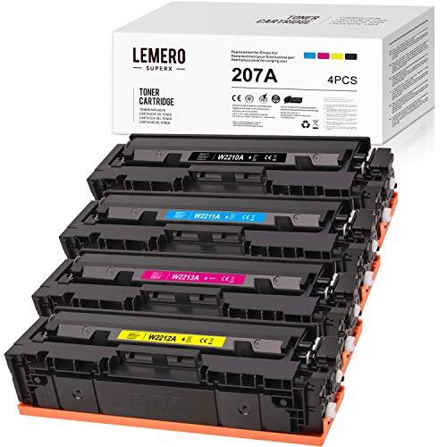 LEMERO SUPERX 207A(Kein Chip) Kompatibel für HP W2210A W2211A W2212A W2213A Tonerkartuschen für HP Color Laserjet Pro M255dw MFP M282nw M283cdw M283fdw Drucker (4er-Pack)