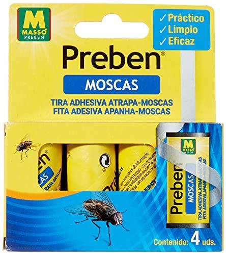 PREBEN 231277 Tira atrapa-Moscas 4 un, Amarillo, 9.1x11x2.2 cm