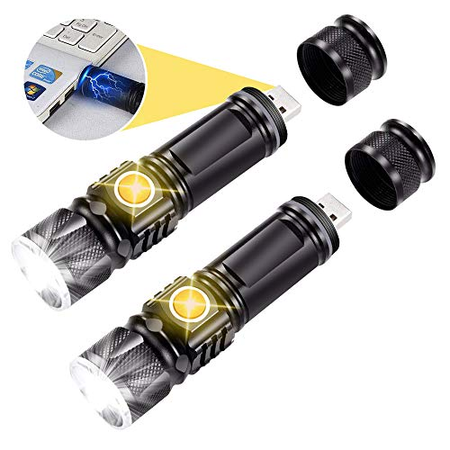 Taschenlampe wiederaufladbar, Batterie im Lieferumfang enthalten LED-Taschenlampen Leistungsstarke USB-Taschenlampe [2er-Pack]