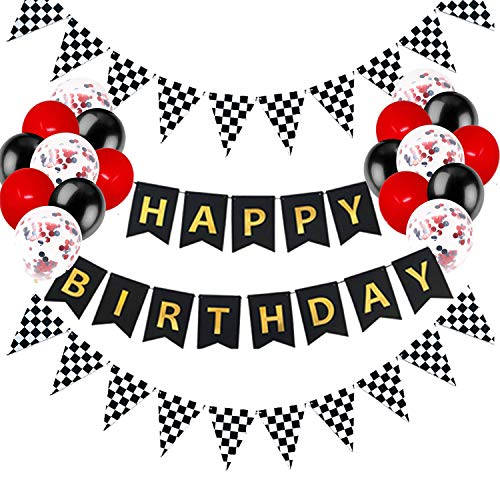 Race Car Happy Birthday Banner Party Decorations, Let's Go Racing Chequered Checkered Black and White Pennant Flags, Race Car Party Supplies for Boy Girl Kids Adults, Racing Happy Birthday Favors