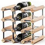 RAXI™ Classic Premium Weinregal aus Holz mit luxuriösem Design, Flaschenregal für 12x Wein Flaschen 32,5x32,5x30 cm