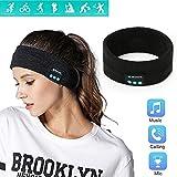スポーツヘッドバンドヘッドフォン、睡眠トレーニング用ヘッドセットヘッドバンド汗ウィッキングヘッドラップトレーニングに最適、ジョギング、ヨガ,黒