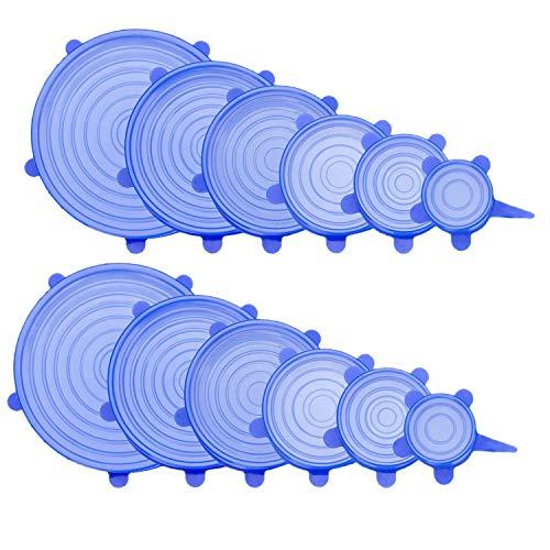 SODIAL 12 Pcs Couvercle Extensible Silicone Durable - Couvercle Extensible pour Aliments pour Intestin, Cannette, Bocal Et Verrerie (6 Tailles)