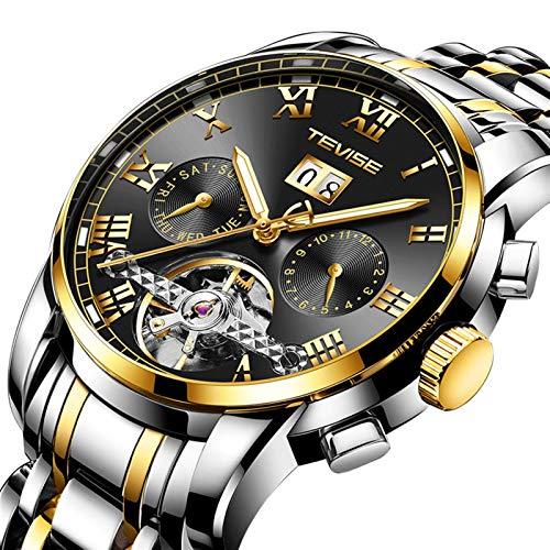 JTTM Moda Business Hombres Automático Mecánico Tourbillon Relojes De Pulsera Acero Inoxidable Correa Luminoso Puntero Calendario Multifunción,Gold Black