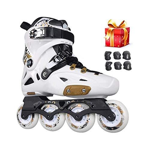 Sljj Erholung Im Freien Damen Weiße, Schwarz Rennen Der Rochen Mit 6 Inline Skates Für Männer Und Anfänger (Color : White, Size : EU 42/US 9/UK 8/JP 26cm)