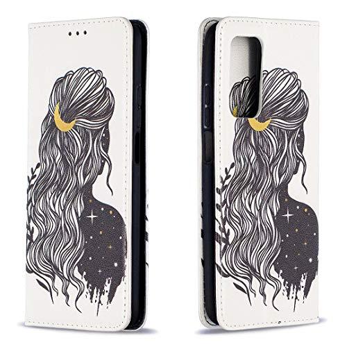 Miagon Brieftasche Hülle für Xiaomi Mi 10T Pro,Kreativ Gemalt Handytasche Case PU Leder Geldbörse mit Kartenfach Wallet Cover Klapphülle,Mädchen