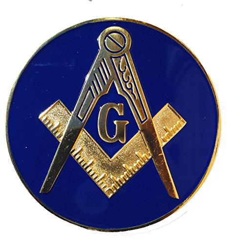 Masonic Master Mason Auto Car Tag Emblem Reflex Blue Made of Aluminum