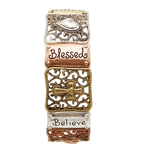 Rosemarie Collections Women's Blessed Believe Tri Tone Cross Religious Stretch Bracelet