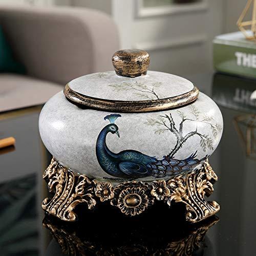 GYHJG Posacenere Grande in Ceramica retrò con Coperchio Moderno Minimalista Creativo Soggiorno Decorazione Americana Antivento