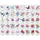 YLGG 40 Pegatinas de Tatuaje Temporal de Moda de Flores, adecuadas para Hombres y Mujeres, Impermeables, extraíbles