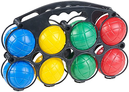 PEARL Boccia Kugeln Kinder: Boule- & Boccia-Spiel mit 8 Kunststoff-Kugeln, Ziel-Kugel & Tragekorb (Boule Kugeln Kinder)