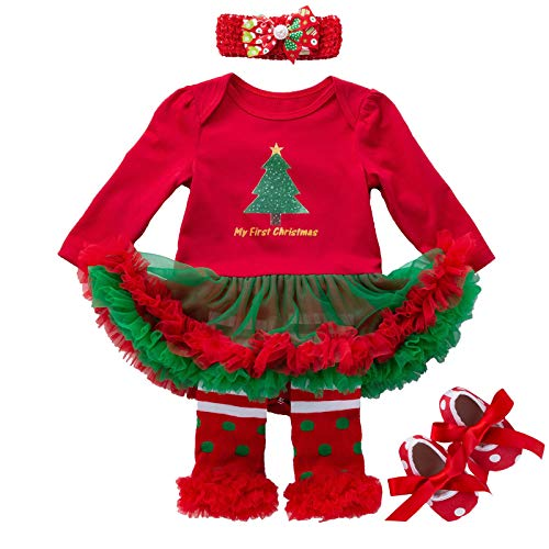 Christmas Outfits for Baby Girls - My First Christmas Dress Set with Headband for Newborn Infant Toddlers Birthday New Year Gifts Red Christmas Tree Decorations Tutu Skirt Romper Clothes, 3-6 Months