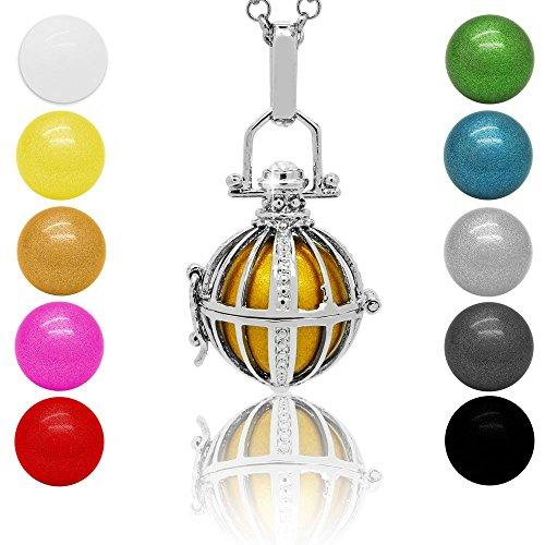SoulCats® Klangkugel Kette Engel Rufer Ball Angel Anhänger Glöckchen Glücksbringer , Farbe:Silber