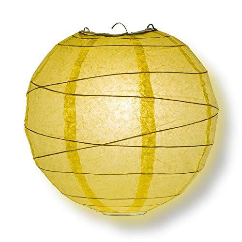 "Quasimoon PaperLanternStore.com 10"" Lemon Yellow Chiffon Round Paper Lantern, Crisscross Ribbing, Hanging Decoration"