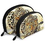 3D Leopard Art Portable Sacs Maquillage Sac Trousse De Toilette, Multifonction Portable Sacs De Voyage Petit Maquillage Pochette d'embrayage avec Fermeture Éclair
