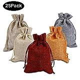 25 Stücke Jutesäckchen, Kany Jutebeutel Stoffbeutel 10cm x 14cm Natur Säckchen Geschenksäckchen für Schmuck Hochzeit Party Feiern Weihnachten (5 Farben)
