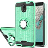 Wiko Ride Case AT&T Radiant Core (U304AA) / Cricket Icon Case with HD Screen Protector, YmhxcY 360 Degree Rotating Ring & Bracket Dual Layer Shock Bumper Cover for Wiko Ride-ZH Mint