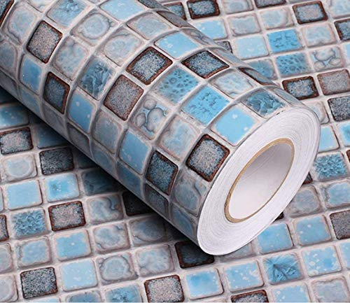 Mosaic Paper Self-Adhesive Thick Removable Wallpaper Peel and Stick Wallpaper Matte Wallpaper for Bathroom Kitchen Counter Paper Countertop Vinyl Blue Wallpaper Shelf Paper 15.7' x 78.7'