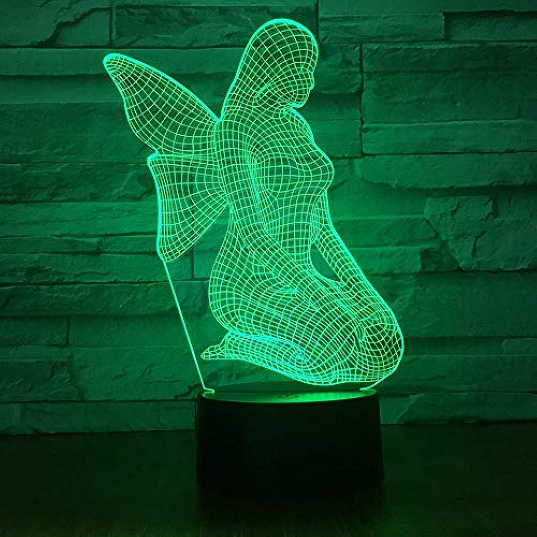 Fdlzz 7 Farbe 3D Licht Nacht 3D Lampe Stimmung Hochzeitsdekor Geschenk Schlafzimmer Tischlampe,Remote und berühren