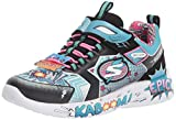 Skechers Kids Girls Hero, Gore and Strap, Super Squishy Memory Foam Sport Shoe Sneaker, Black/Turquoise, 13.5 Little Kid Medium