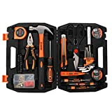 KSEIBI Home Tool Kit, General Household Small Hand Tools Set with Plastic Box Storage Case, 42-Piece Include Hammer, Pliers, Screwdriver Bits, Allen Key Wrench, Electric Tester (145070)
