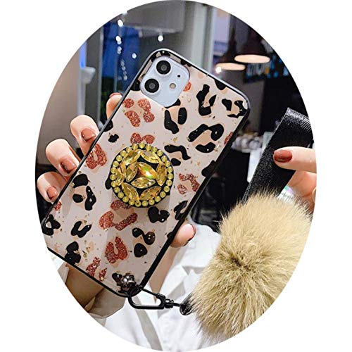 Luxury Leopard 3D Glitter Diamond Handle Bracket + Hair Ball Pink Epoxy Soft cover for iphone 11Pro MAX XS XR 7 8plus phone case,with hairball,for iphone 6 6plus