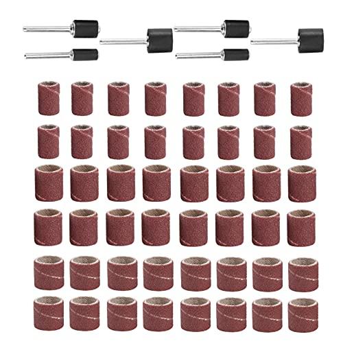 Ueetek Set Schleiftrommeln, 66-teilig, bestehend aus Schleifbändern 60Stück und Trommel-Aufsätzen 6 Stk.