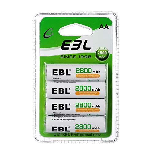 EBL AA Batterie Ricaricabili Ad Alta Capacità,Pile Ricaricabili da 2800mAh Ni-MH con 1200 volte,Confezione da 4 pezzi