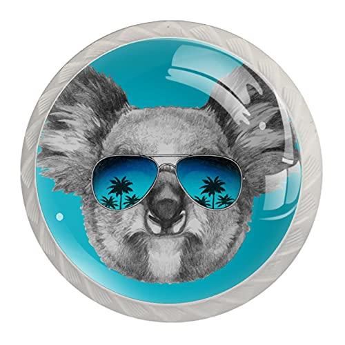Koala - Gafas de sol con espejo, diseño minimalista moderno y con asa para armario, manija de puerta, cuatro piezas