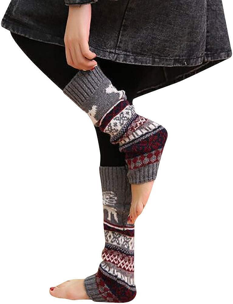 Women's Heathered Hose Socks Christmas Warm Leg Cable Knit Knitted Crochet High Long Socks Leggings KLGDA