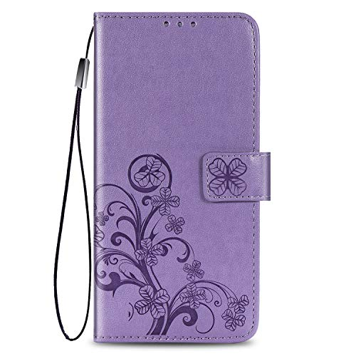 Supdigital Galaxy A20 Wallet Case,Galaxy A30 Case, [Flower Embossed] Premium PU Leather Flip Protective Case Cover with Card Holder and Stand for Samsung Galaxy A20/A30 2019 Release (Lavender)