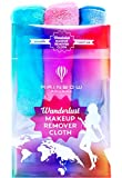 RAINBOW ROVERS Set of 3 Makeup Remover Cloths | Reusable & Ultra-fine Makeup Towels | Suitable for All Skin Types | Removes Makeup with Water | Free Bonus Waterproof Travel Bag | Unicorn