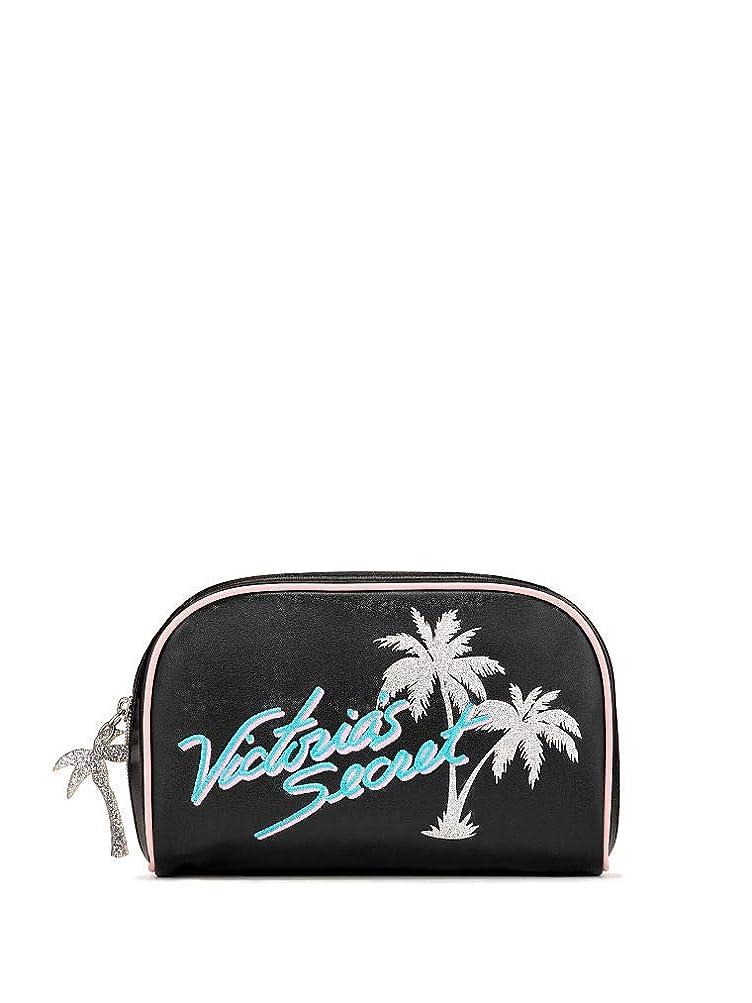 ワット男いっぱいVictoria's Secret ヴィクトリアシークレット パームツリー トラベル用 化粧ポーチ ブラック シルバー [並行輸入品]