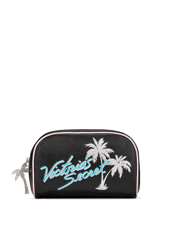 Victoria's Secret ヴィクトリアシークレット パームツリー トラベル用 化粧ポーチ ブラック シルバー [並行輸入品]