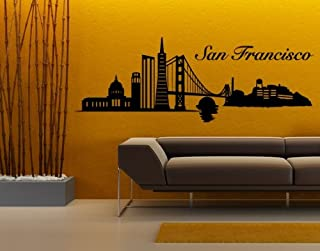 San Francisco City Skyline Wall Decal by Style & Apply - Wall Sticker, Vinyl Wall Art, Home Decor, Wall Mural - 1327 - 39in x 14in, Black