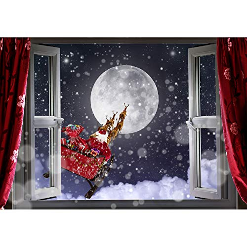 Allenjoy 7x5ft Christmas Window Santa Sleigh Backdrop Winter Snowflake Red Curtain Sill Moon Reindeer Xmas Holiday Family Party Kids Photography Background Decoration Banner Photo Booth Studio Prop