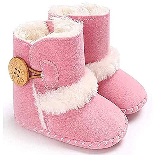 033 Stivali Invernali per Bambino, Unisex Neonato Carino Suola Antiscivolo Stivali Scarpe in Cotone Bambina Stivali da Bambino d'inverno (Rosa, 12-18 Mesi)