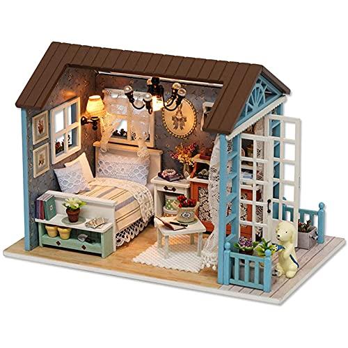 DIYクリスマスミニチュアドールハウスキット、家具付きのリアルなミニ3D木造ハウスルームクラフト、LEDライト、子供の日の誕生日プレゼント、クリスマスデコレーション、クリスマスプレゼント